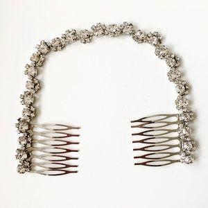 Vintage silver & diamond hair comb headband